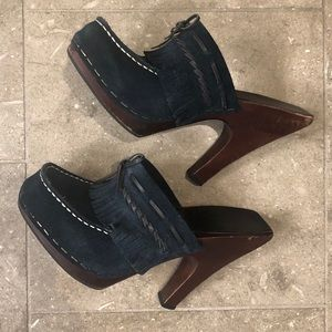 Frye Shoes Lacey Suede Navy Blue Fringe Mules